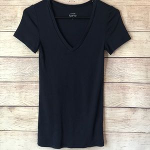 J. Crew Fall Perfect Fit Navy Short Sleeve Small